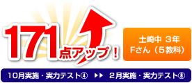 土崎中 3年 Mくん(5教科) 171点アップ!