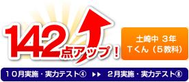 土崎中 3年 Kさん(5教科) 142点アップ!