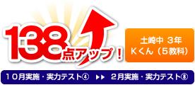 土崎中 3年 Kさん(5教科) 138点アップ!