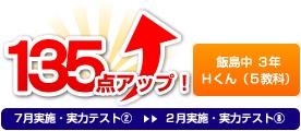 飯島中 3年 Hくん(5教科) 135点アップ!