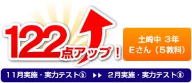 土崎中 3年 Eさん(5教科) 122点アップ!