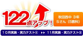 秋田西中 3年 Sさん(5教科) 122点アップ!
