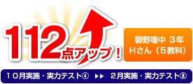 御野場中 3年 Hさん(5教科) 112点アップ!