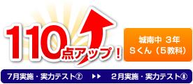 城南中 3年 Sくん(5教科) 110点アップ!