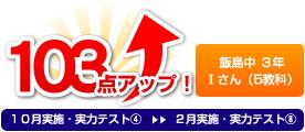 飯島中 3年 Ⅰさん(5教科) 103点アップ!