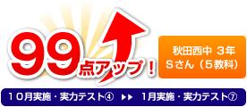 秋田西中 3年 Sさん(5教科) 99点アップ!