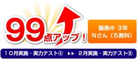飯島中 3年 Nさん(5教科) 99点アップ!