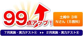 土崎中 3年 Nさん(5教科) 99点アップ!