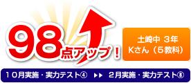 土崎中 3年 Kさん(5教科) 98点アップ!