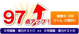 城東中 3年 Oくん(5教科) 97点アップ!