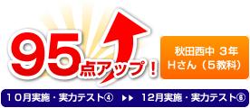 秋田西中 3年 Hさん(5教科) 95点アップ!