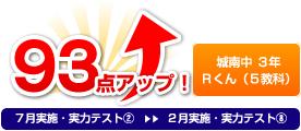 城南中 3年 Rくん(5教科) 93点アップ!