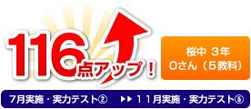 桜中 3年 Oさん(5教科) 116点アップ!