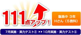 飯島中 3年 Hさん(5教科) 111点アップ!