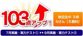 秋田北中 3年 Nさん(5教科) 103点アップ!