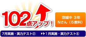 羽城中 3年 Nさん(5教科) 102点アップ!