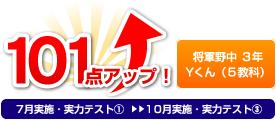 将軍野中 3年 Yくん(5教科) 101点アップ!