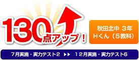 秋田北中 3年 Hくん 130点アップ!