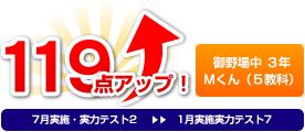 御野場中 3年 Mくん(5教科) 119点アップ!