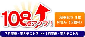 秋田北中 3年 Nさん 108点アップ!