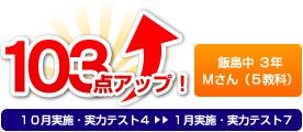 飯島中 3年 Mさん 103点アップ!