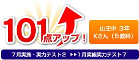 山王中 3年 Kさん(5教科) 101点アップ!