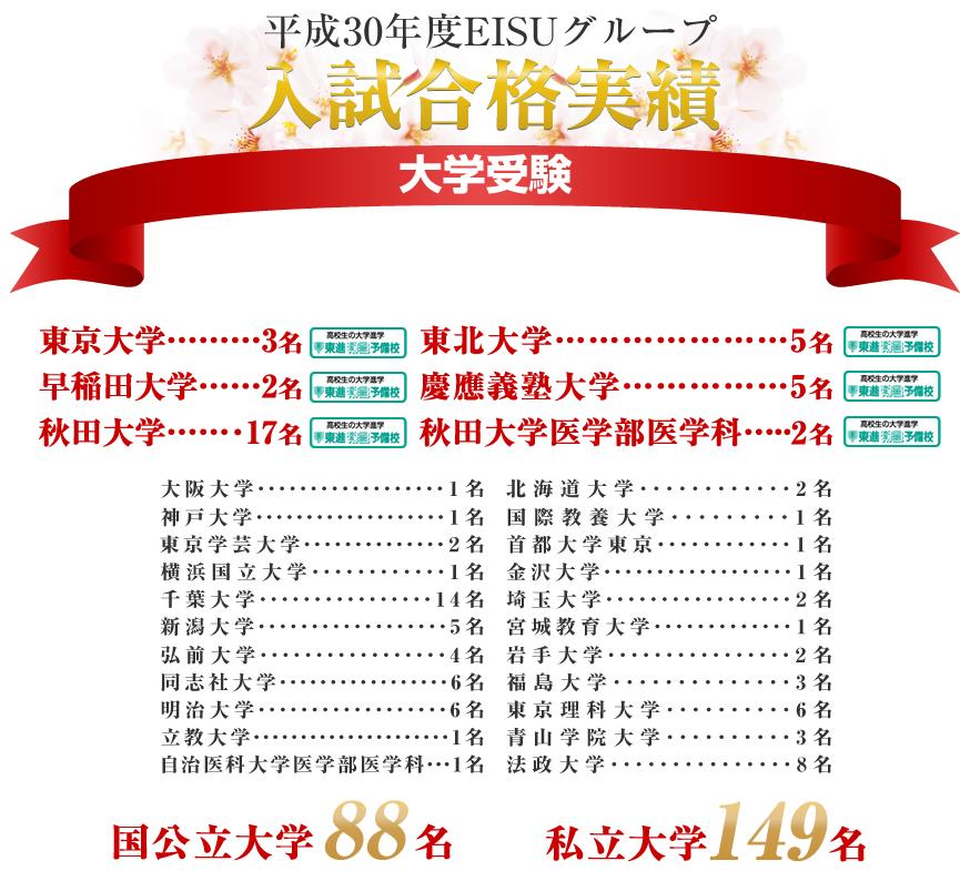平成29年度EISUグループ 入試合格実績 - 大学受検